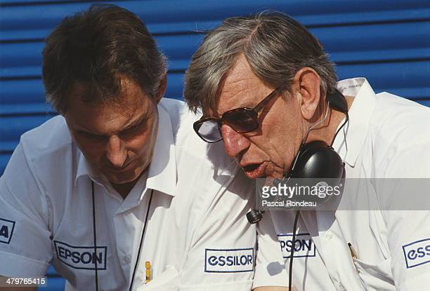 Team owner Ken Tyrrell talking with Harvey Postlethwaite designer of the distinctive invertedV anhedral front profile Tyrrell 019 during pre season...