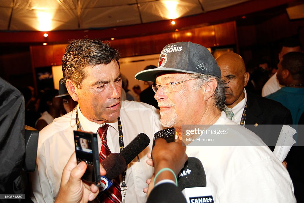 Team Owner Micky Arison of the Miami Heat is interviewed in the locker room after they won 121-106 against the Oklahoma City Thunder in Game Five of the 2012 NBA Finals on June 21, 2012 at American Airlines Arena in Miami, Florida.