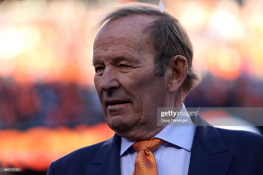 Team owner of the Denver Broncos <a gi-track='captionPersonalityLinkClicked' href=/galleries/search?phrase=Pat+Bowlen&family=editorial&specificpeople=749424 ng-click='$event.stopPropagation()'>Pat Bowlen</a> celebrates after they defeated the New England Patriots 26 to 16 during the AFC Championship game at Sports Authority Field at Mile High on January 19, 2014 in Denver, Colorado.