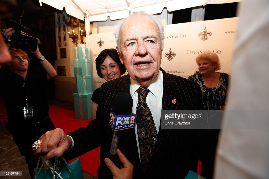 Team owner of the New Orleans Saints Tom Benson talks to the media after receiving his ring from Super Bowl XLIV on June 16, 2010 in New Orleans, Louisiana.