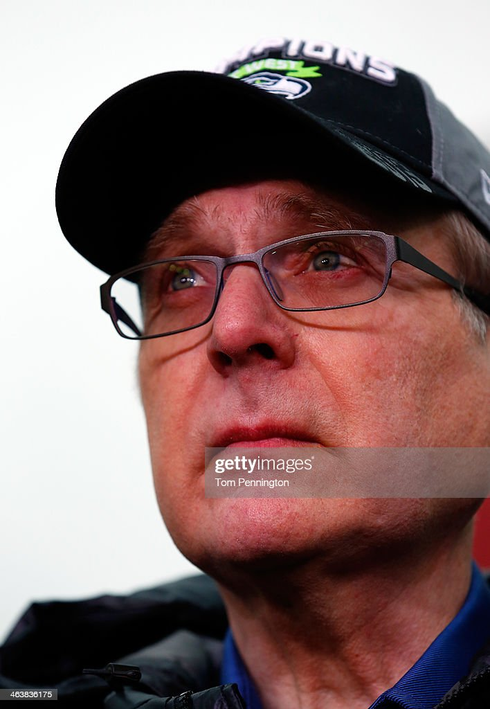 Team owner Paul Allen of the Seattle Seahawks looks on before the Seahawks take on the San Francisco 49ers during the 2014 NFC Championship at CenturyLink Field on January 19, 2014 in Seattle, Washington.