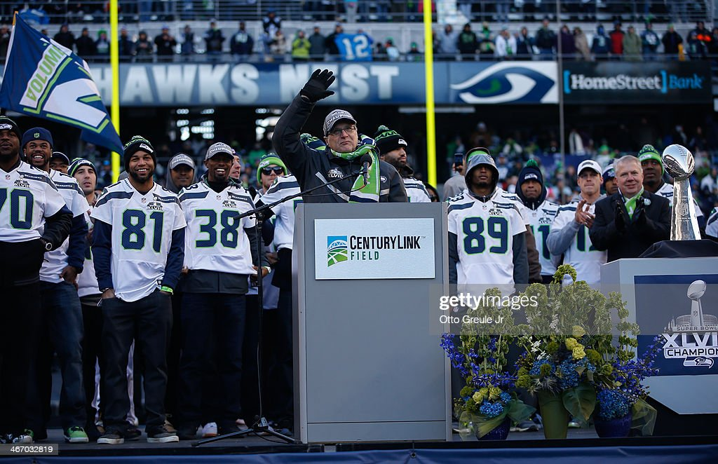 Team Owner Paul Allen of the Seattle Seahawks speaks to the crowd during ceremonies following the Super Bowl XLVIII Victory Parade at CenturyLink Field on February 5, 2014 in Seattle, Washington.