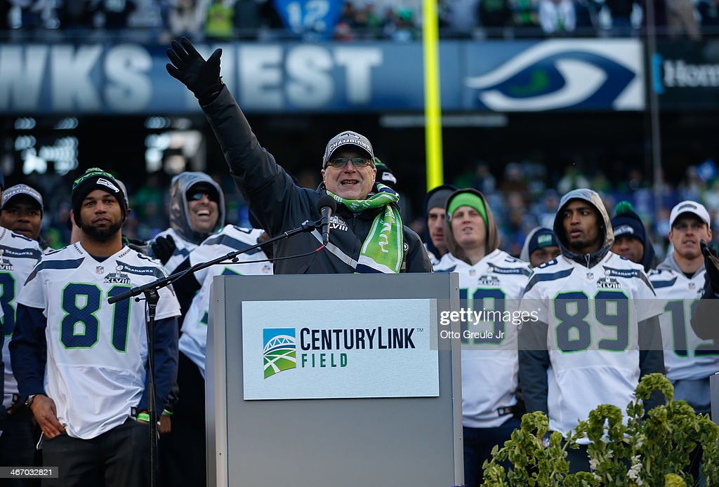 Team Owner <a gi-track='captionPersonalityLinkClicked' href=/galleries/search?phrase=Paul+Allen&family=editorial&specificpeople=206926 ng-click='$event.stopPropagation()'>Paul Allen</a> of the Seattle Seahawks speaks to the crowd during ceremonies following the Super Bowl XLVIII Victory Parade at CenturyLink Field on February 5, 2014 in Seattle, Washington.