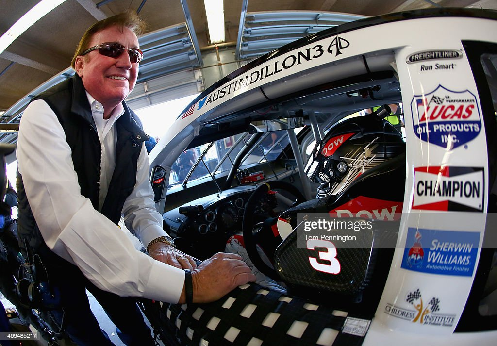 Team owner <a gi-track='captionPersonalityLinkClicked' href=/galleries/search?phrase=Richard+Childress&family=editorial&specificpeople=604335 ng-click='$event.stopPropagation()'>Richard Childress</a> speaks with <a gi-track='captionPersonalityLinkClicked' href=/galleries/search?phrase=Austin+Dillon&family=editorial&specificpeople=5075945 ng-click='$event.stopPropagation()'>Austin Dillon</a>, driver of the #3 DOW Chevrolet, during practice for the NASCAR Sprint Cup Series Daytona 500 at Daytona International Speedway on February 15, 2014 in Daytona Beach, Florida.
