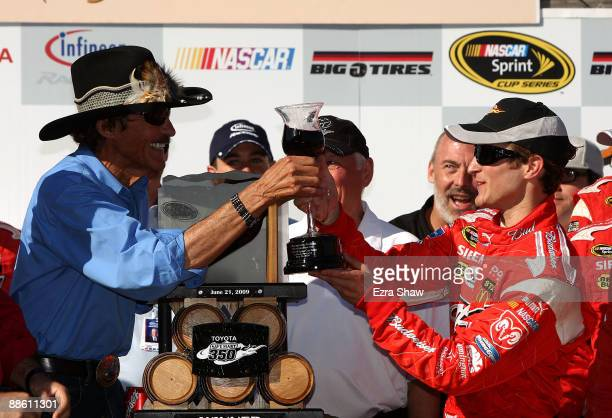 Team Owner Richard Petty celebrates with his winning driver Kasey Kahne driver of the Budweiser Dodge after Kasey wins the NASCAR Sprint Cup Series...