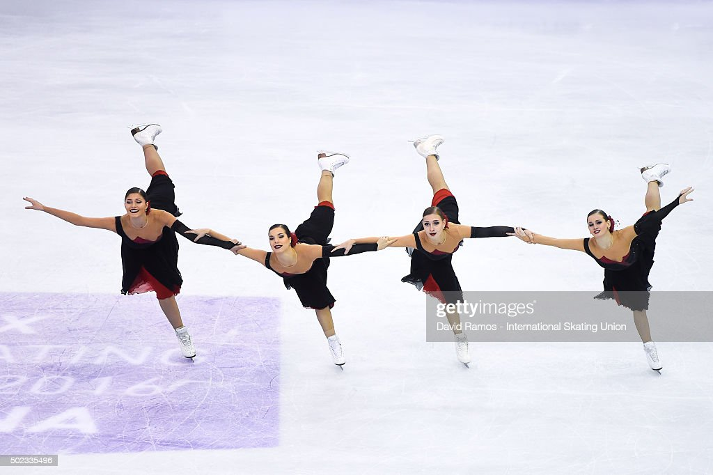 Team Paradise of Russia performs during the Synchronized Skating Free program during day three of the ISU Grand Prix of Figure Skating Final 2015/2016 at the Barcelona International Convention Centre on December 12, 2015 in Barcelona, Spain.