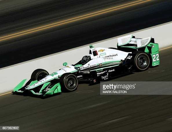 TOPSHOT Team Penske driver and Indycar championship leader Simon Pagenaud of France powers the main stright before claiming Pole position during the...