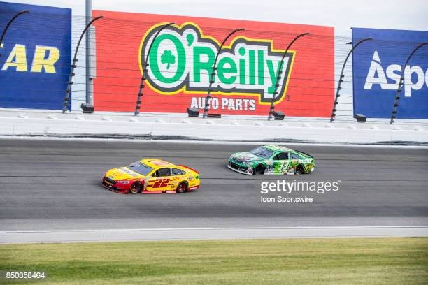 Team Penske Shell Pennzoil Ford driver Joey Logano and Circle Sport TMG hulu Chevy driver Jeffrey Earnhardt during the Monster Energy Cup Series Tale...