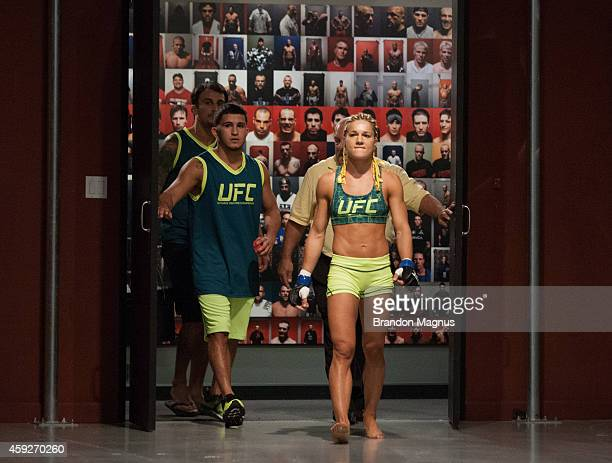 Team Pettis fighter Felice Herrig prepares to enter the Octagon before facing team Pettis fighter Randa Markos during filming of season twenty of The...