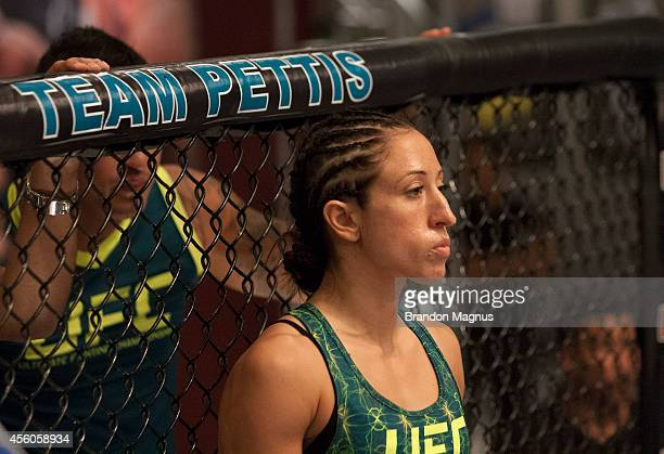 Team Pettis fighter Jessica Penne enters the Octagon before facing team Melendez fighter Lisa Ellis during filming of season twenty of The Ultimate...