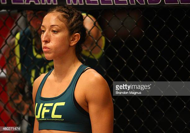 Team Pettis fighter Jessica Penne enters the octagon before facing team Pettis fighter Carla Esparza during filming of season twenty of The Ultimate...