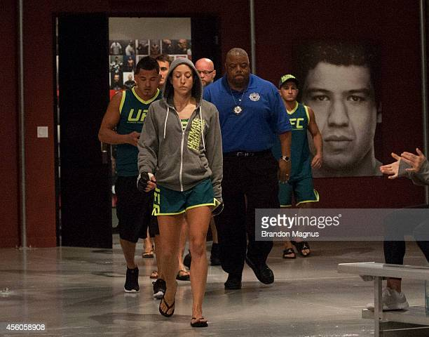 Team Pettis fighter Jessica Penne prepares to enter the Octagon before facing team Melendez fighter Lisa Ellis during filming of season twenty of The...
