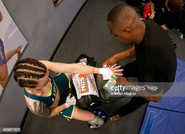 Team Pettis fighter Joanne Calderwood gets her hands wrapped before facing team Melendez fighter Emily Kagan during filming of season twenty of The...
