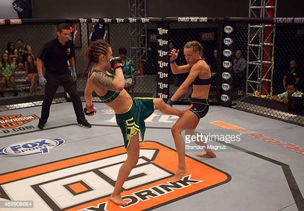 Team Pettis fighter Joanne Calderwood kicks team Melendez fighter Rose Namajunas in the quarterfinals during filming of season twenty of The Ultimate...