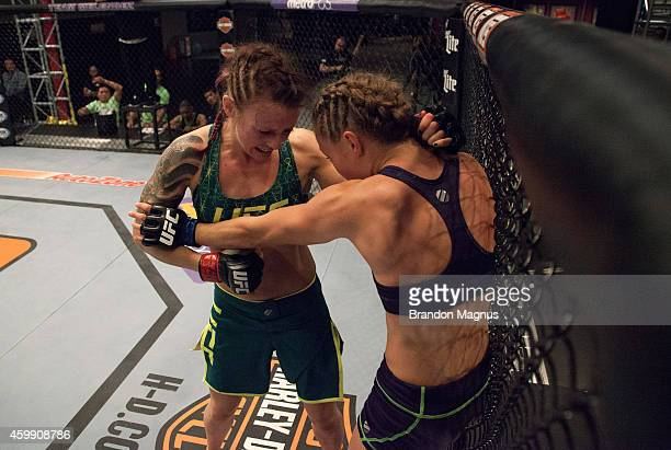 Team Pettis fighter Joanne Calderwood punches team Melendez fighter Rose Namajunas in the quarterfinals during filming of season twenty of The...