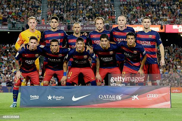 team photo FC Barcelona back row Marc Andre Ter Stegen of FC Barcelona Jan Barta of FC Barcelona Javier Mascherano of FC Barcelona Ivan Rakitic of FC...