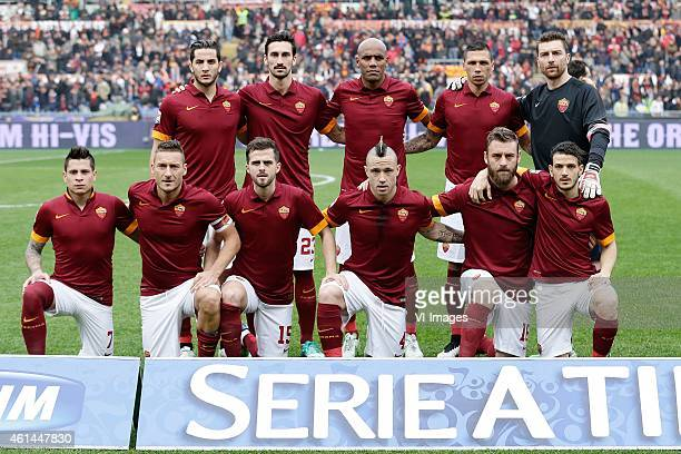 team photo of AS Roma standing Kostas Manolas of AS Roma Davide Astori of AS Roma Maicon of AS Roma Jose Holebas of AS Roma goalkeeper Morgan De...