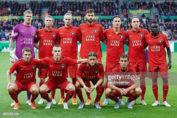 Team photo of FC Midtjylland prior to the UEFA Champions League Qualification match between FC Midtjylland and APOEL Nicosia FC at MCH Arena on July...