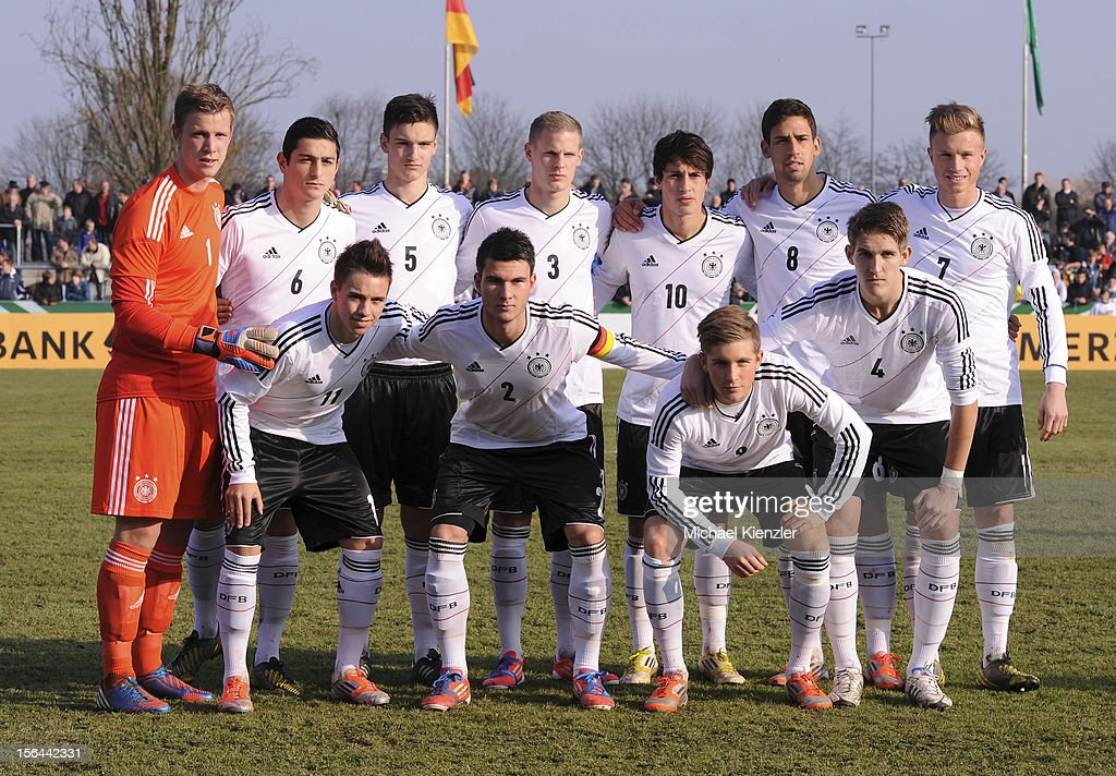 Team photo of Germany taken before the International Friendly match between U19 Germany and U19 France at Rheinstadium on November 14, 2012 in Kehl, Germany. second row: Thomas Daehne, Koray Guenter, Noah Korczowski, Patrick Schorr, Fabian Schnellhardt, Rani Khedira, Yannick Gerhardt (l-r). Front row: Thomas Pledl, Robin Yalcin, Patrick Weihrauch, Robert Andrich.