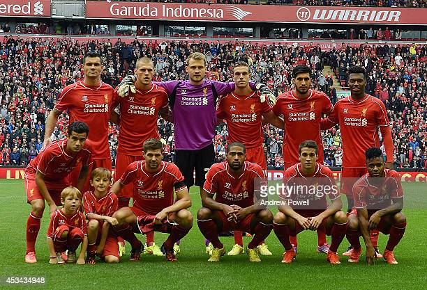 Team photo of Liverpool before the Pre Season Friendly match between Liverpool and Borussia Dortmund at Anfield on August 10 2014 in Liverpool England
