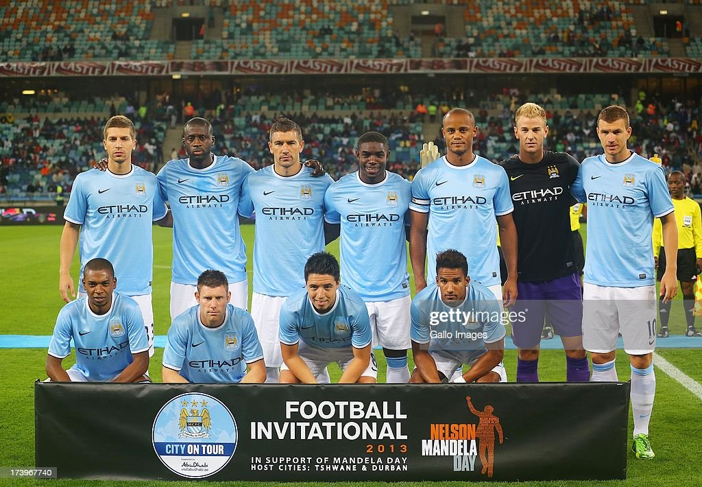 Team photo of Manchester City during the Nelson Mandela Football Invitational match between AmaZulu and Manchester City at Moses Mabhida Stadium on July 18, 2013 in Durban, South Africa.