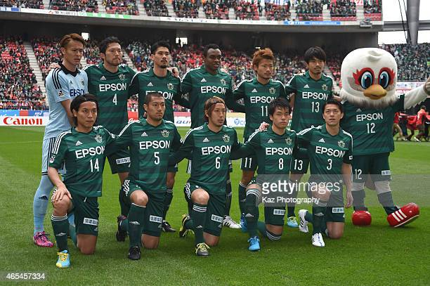 Team photo of Matsumoto Yamada during the J League match between Nagoya Grampus and Matsumoto Yamaga at Toyota Stadium on March 7 2015 in Toyota Japan