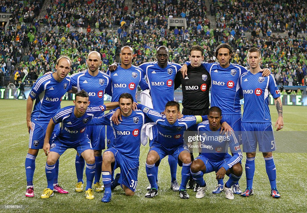 Team photo of Montreal Impact starting lineup before playing match against the Seattle Sounders at CenturyLink Field on March 2, 2013 in Seattle, Washington.