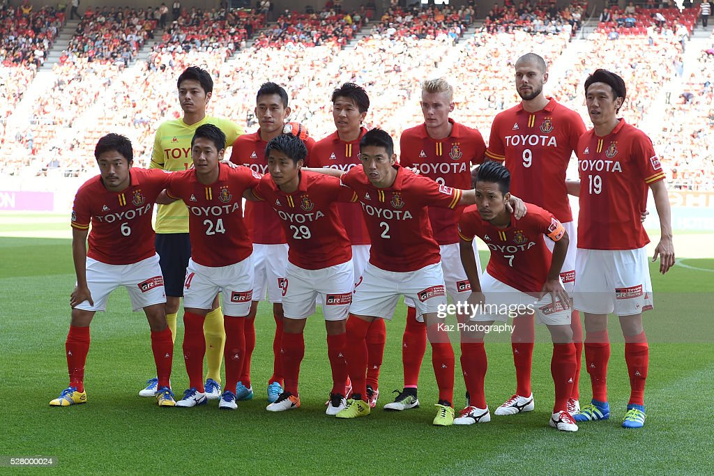Team Photo of Nagoya Grampus during the J.League match between Nagoya Grampus and Yokohama F.Marinos at the Toyota Stadium on May 4, 2016 in Toyota, Aichi, Japan.