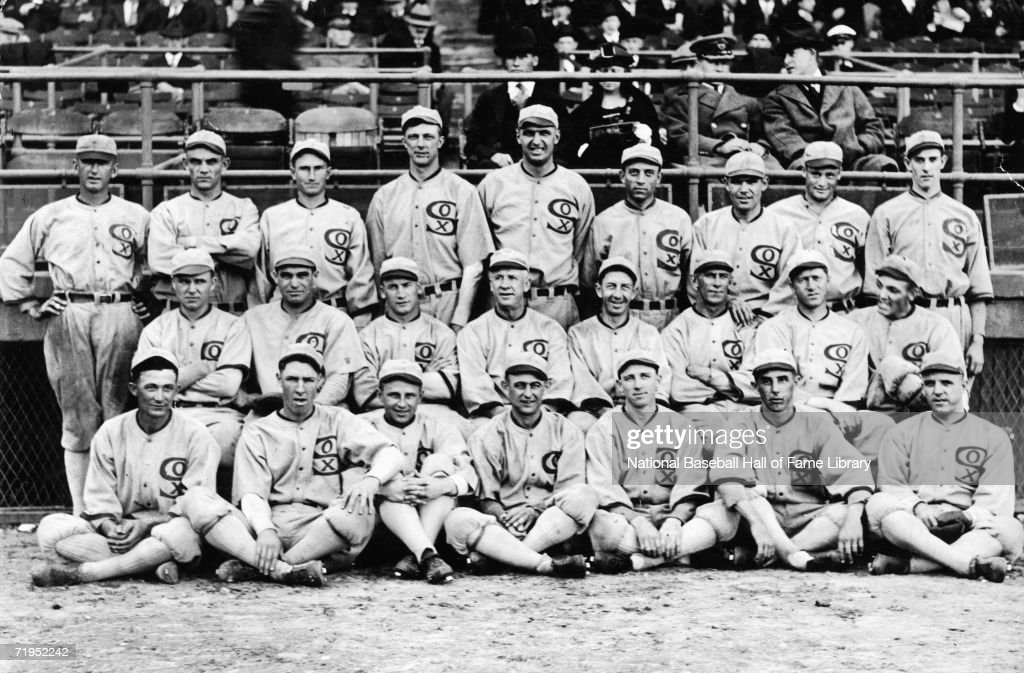 A team photo of the Chicago White Sox from 1919 'Shoeless' Joe Jackson is pictured center in the bottom row