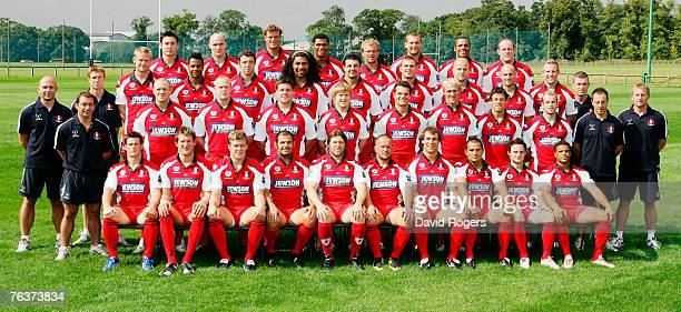 A team photo of the Gloucester Rugby squad taken at the photocall held at Hartpury College on August 28 2007 in Gloucester England