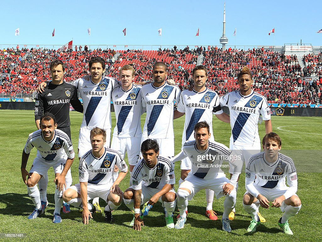 A team photo of the Los Angeles Galaxy prior to a start of an MLS game against the Toronto FC on March 30, 2013 at BMO field in Toronto, Ontario, Canada. The LA Galaxy and the Toronto FC played to a 2-2 tie.