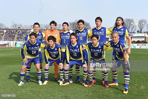 Team photo of Thespa Kusatsu Gunmaduring the JLeague second division match between Thespa Kusatsu Gunma and FC Gifu at the Shoda Shoyu Stadium Gunma...