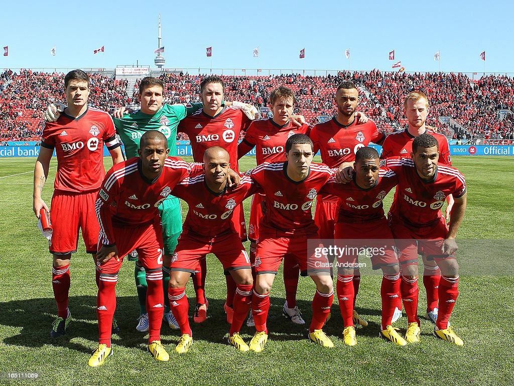 A team photo of Toronto FC prior to an MLS game against the Los Angeles Galaxy on March 30, 2013 at BMO Field in Toronto, Ontario, Canada.