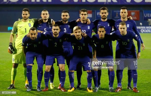 Team photo players of Greece goalkeeper Orestis Karnezis Kyriakos Papadopoulos Giorgos Tzavellas Sokratis Papastathopoulos Alexandros Tziolis Andreas...