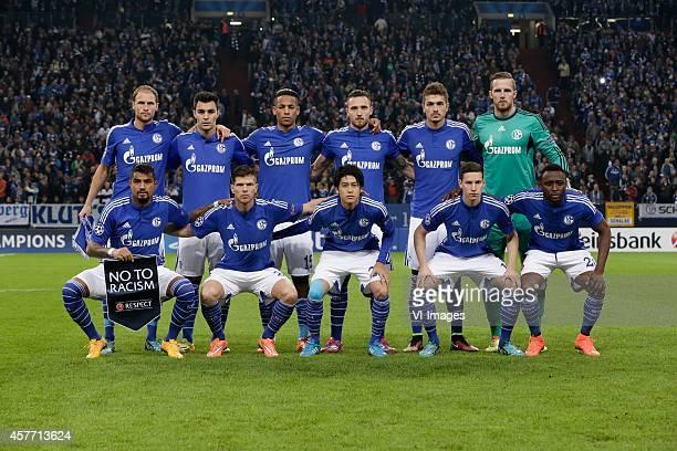 Team photo Schalke 04 Back row Benedikt Howedes of Schalke 04 Kaan Ayhan of Schalke 04 Dennis Aogo of Schalke 04 Marco Hoger of Schalke 04 Roman...