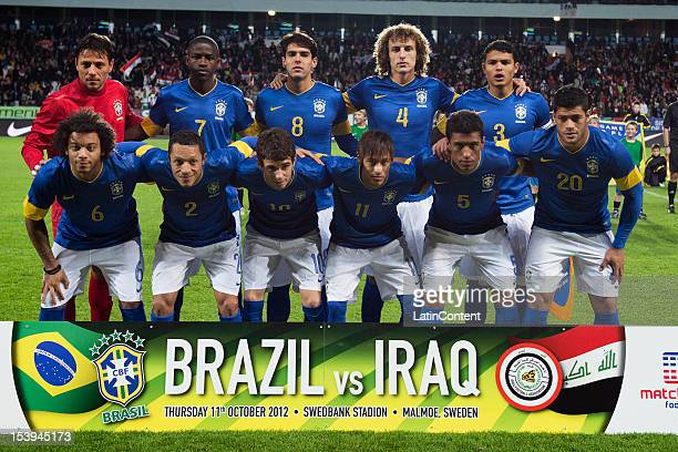 Team picture with Diego Alves Ramires Kaká David Luiz Thiago Silva Marcelo Adriano Oscar Neymar Paulinho Hulk before a FIFA friendly match between...