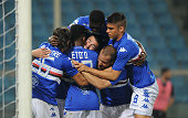 Team players of UC Sampdoria celebrates the goal of Alessio Romagnoli celebrates the goal with his team players during the Serie A match between UC...