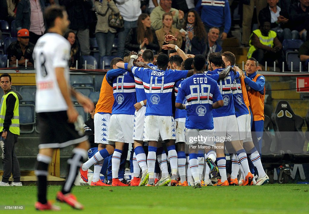 Team players of UC Sampdoria celebrates the goal of Matias Silvestre celebrates the goal with his team players during the Serie A match between UC...