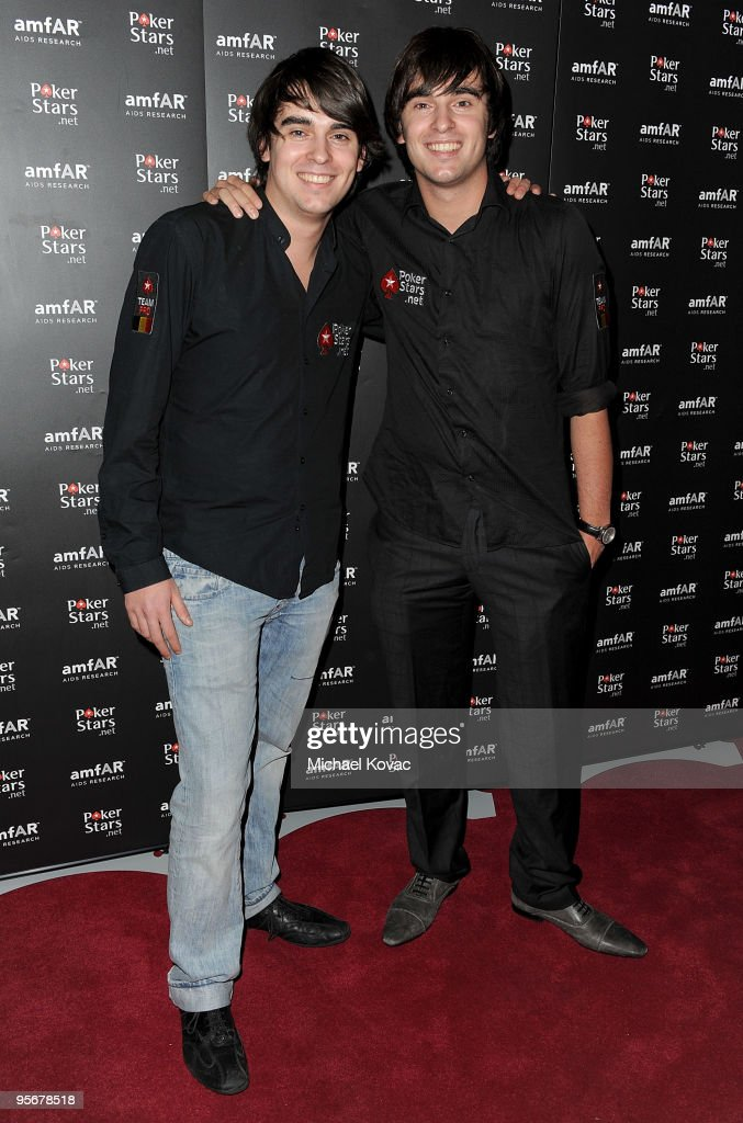 Team PokerStars Pros Belgium brothers Christophe de Meulder (L) and Matthias de Meulder arrive at the amfAR Cocktail Party & PokerStars Red Carpet and Party at Aura Nightclub on January 9, 2010 in Nassau, Bahamas.