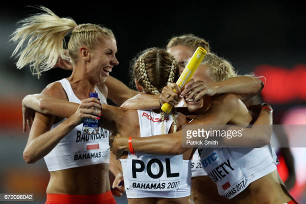 Team Poland celebrates after placing second in the Women's 4x400 Metres Relay Final during the IAAF/BTC World Relays Bahamas 2017 at Thomas Robinson...