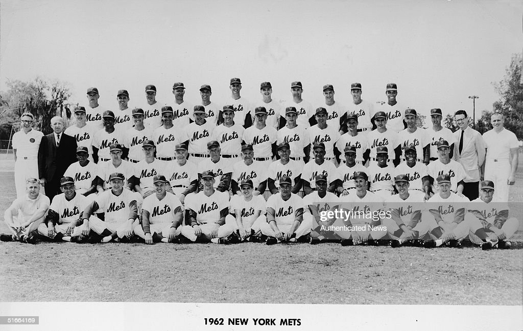 Team portrait of the 1962 New York Mets baseball team, 1962. Back row from left, American baseball players <a gi-track='captionPersonalityLinkClicked' href=/galleries/search?phrase=Don+Zimmer&family=editorial&specificpeople=215376 ng-click='$event.stopPropagation()'>Don Zimmer</a>, Hobie Landrith, Richie Ashburn (1927 - 1997), Howie Nunn, Joe Ginsberg, Neil Chrisley, Jim Marshall, Ed Bouchee, Bobby Gene Smith, Dewes Hamilt, and Felix Mantilla. Third row from left, Gus Mauch (trainer), Lou Niss (road secretary), Rod Kanehl, Sammy Drake, Bill Whalen, Ray Daviault, Frank Thomas, Craig Anderson, Jay Hook, Bill Robinson, Gil Hodges (1924 - 1972), Ted Lepcio, Chris Cannizzaro, Ed Donnelly (1934 - 1997), Herb Moford, Dr. Peter Lamotte (team physician), and Lynn Lischer (assistant trainer). Second row from left, Al Jackson, Woody Gatewood, Bob Miller (1939 - 1993), Rogers Hornsby (1896 - 1963) (coach), Red Ruffing (1905 - 1986) (coach), Casey Stengel (1890 - 1975) (manager), Solly Hemus (coach), Cookie Lavagetto (1912 - 1990) (coach), Venezuelan baseball player Elio Chacon (1936 - 1992), and American baseball players Choo-Choo Coleman. Joe Christopher, and Bruce Fitzpatrick. Front row from left, Herb Norman (equipment manager), Clem Labine, Roger Craig, Gus Bell (1928 - 1995), Jim Hickman, Frank Prudenti, Sherman Jones, Charlie Neal (1931 - 1996), Canadian Ken Mackenzie, and Americans Bob Botz, John DeMerit, and Bob Moorhead (1938 - 1986).