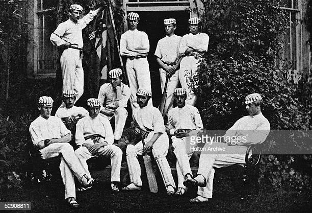 A team portrait of the Harrow School cricket team in 1866 Back row from left Henry H Montgomery T Hartley Walter B Money and Charles J Smith Middle...