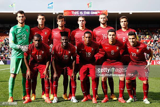 Team Portugal pose prior to the FIFA U20 World Cup New Zealand 2015 quarter final match between Brazil and Portugal held at Waikato Stadium on June...