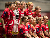LSK team poses for a picture before winning the Norwegian Cup Final woman match between LSK Kvinner and Trondheims Orn at Telenor Arena on November...