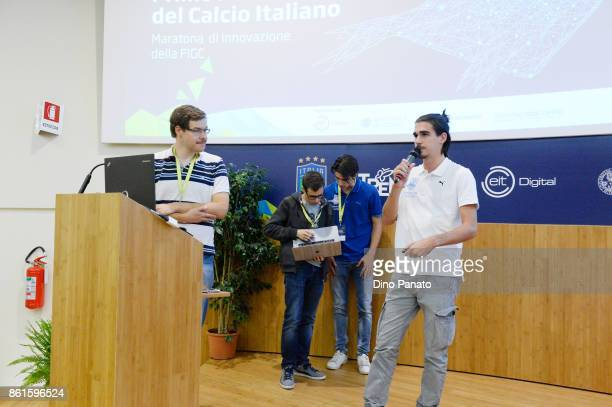 Team Povolesi attend the second day of the Hackathon Event at the University of Letters on October 15 2017 in Trento Italy