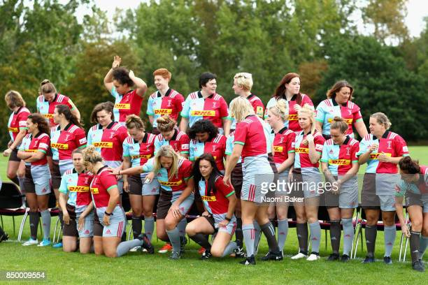 Team prepare for the squad photograph during the Harlequins Ladies Squad Photo call for the 2017/18 Tyrrells Premier 15s Season at Surrey Sports Park...