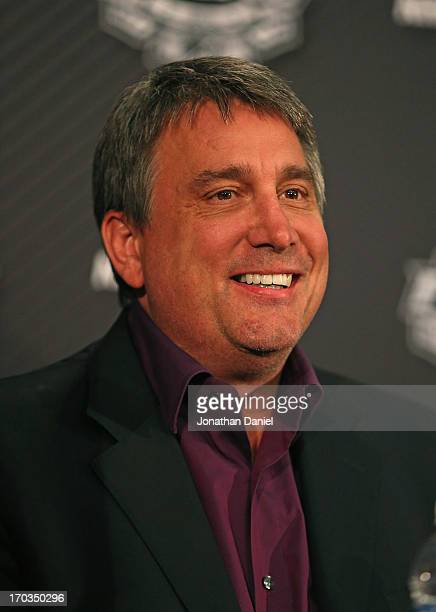 Team President Cam Neely of the Boston Bruins answers questions during the 2013 NHL Stanley Cup media day at the United Center on June 11 2013 in...