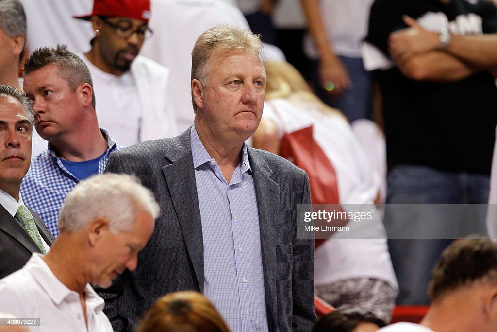 Team President Larry Bird of the Indiana Pacers looks on against the Miami Heat during Game Three of the Eastern Conference Finals of the 2014 NBA...