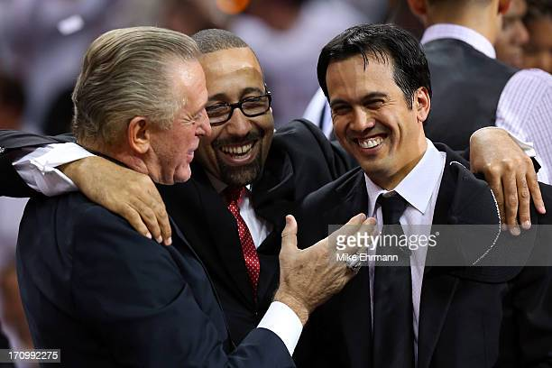 Team President Pat Riley assistant coach David Fizdale and head coach Erik Spoelstra of the Miami Heat celebrate after defeating the San Antonio...