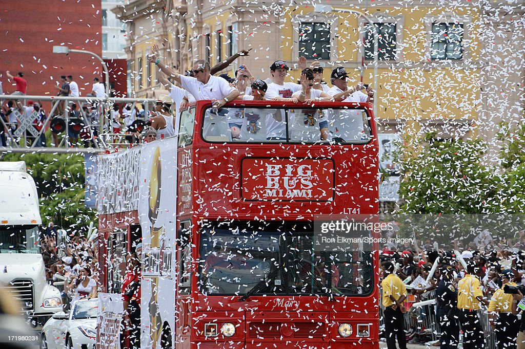 Team president Pat Riley of the Miami Heat celebrate during the championship celebration parade through downtown on June 24, 2013 in Miami, Florida. The Miami Heat defeated the San Antonio Spurs in the NBA Finals.